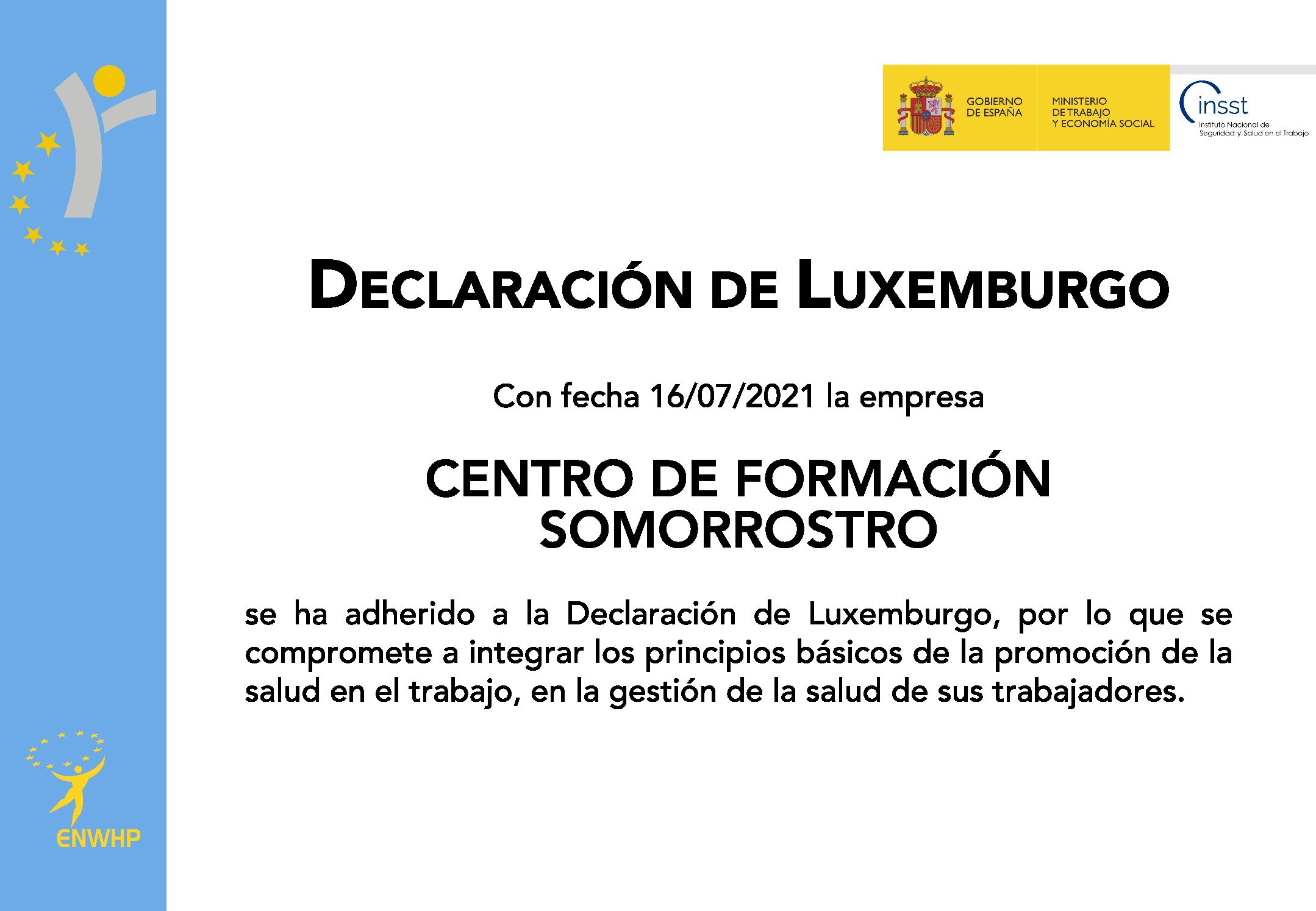 """Somorrostro adheres to the """"Luxembourg Declaration"""""""
